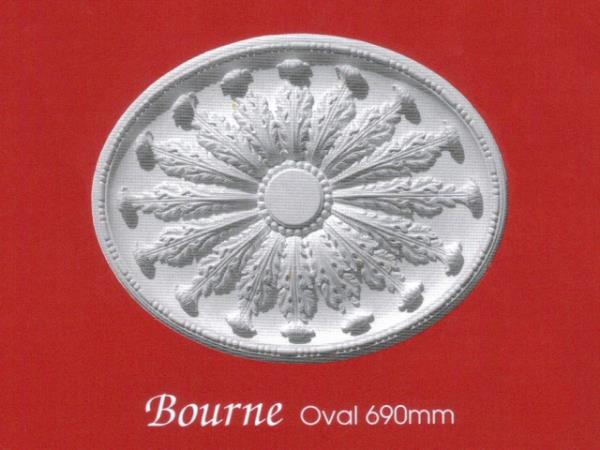 Plaster Centrepiece (Ceiling Rose) - Bourne - Oval 690mm
