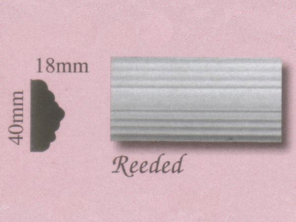 Plaster Panel Moulding (Dado Rail) - Reeded - 40mm x 18mm