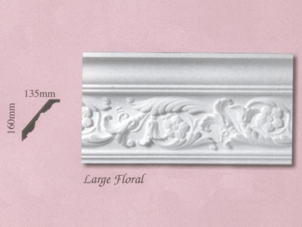 Plaster Panel Cornice (Coving) - Large Floral - 160mm x 135mm