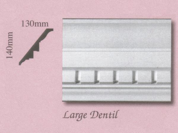 Plaster Panel Cornice (Coving) - Large Dentil - 140mm x 130mm