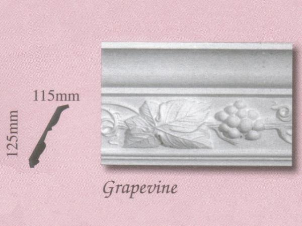 Plaster Panel Cornice (Coving) - Grapevine - 125mm x 115mm