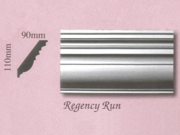 Plaster Panel Cornice (Coving) - Regency Run - 110mm x 90mm