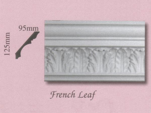 Plaster Panel Cornice (Coving) - French Leaf - 125mm x 95mm