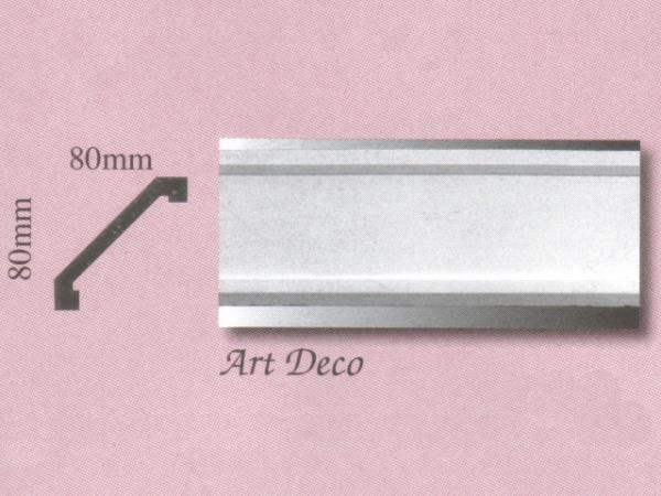 Plaster Panel Cornice (Coving) - Art Deco - 80mm x 80mm