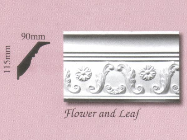 Plaster Panel Cornice (Coving) - Flower and Leaf - 115mm x 90mm
