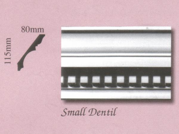 Plaster Panel Cornice (Coving) - Small Dentil - 115mm x 80mm