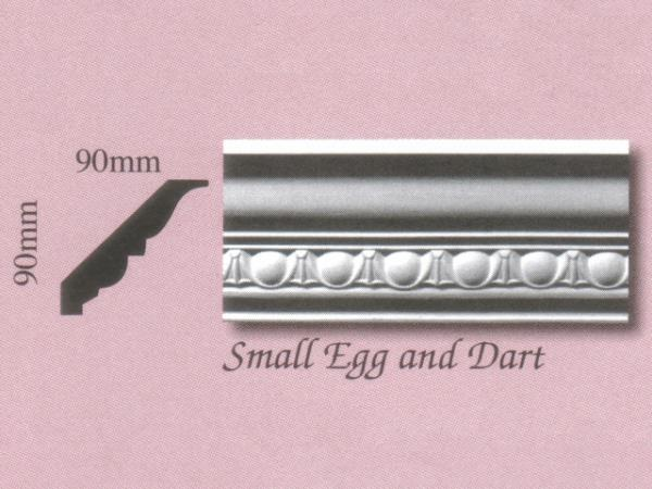 Plaster Panel Cornice (Coving) - Small Egg and Dart - 90mm x 90mm