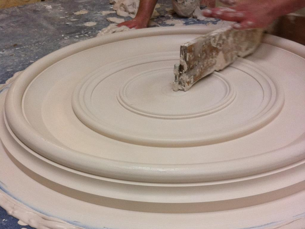 Bespoke Plaster Centrepiece (5 of 6) - Running the mould over the applied plaster to give the ceiling rose shape