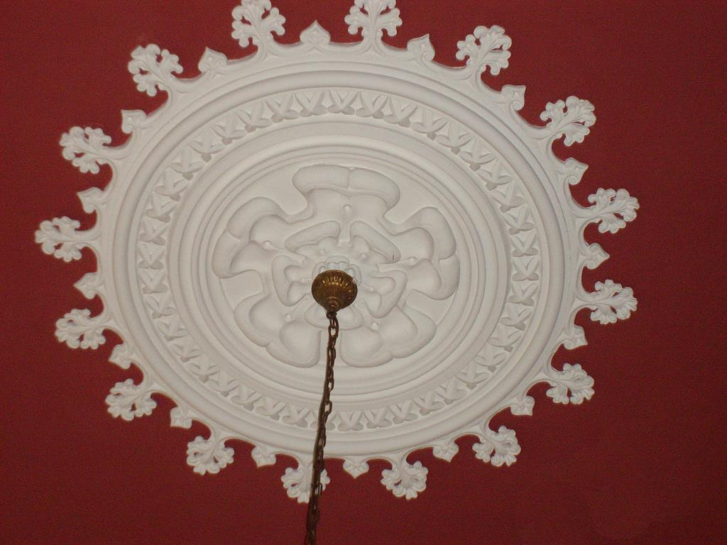 Ornate plaster ceiling rose created for Linden Hall near Borwick near Milnethorpe in Lancashire