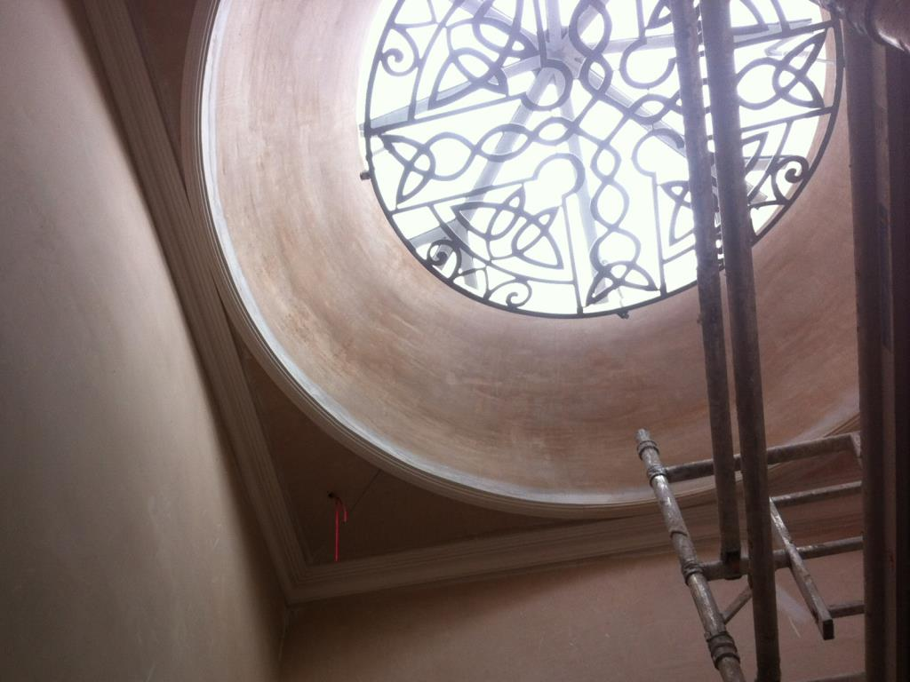 Plaster panel moulding to the base of a dome and cornice for a hotel in Ullswater in the Lake District