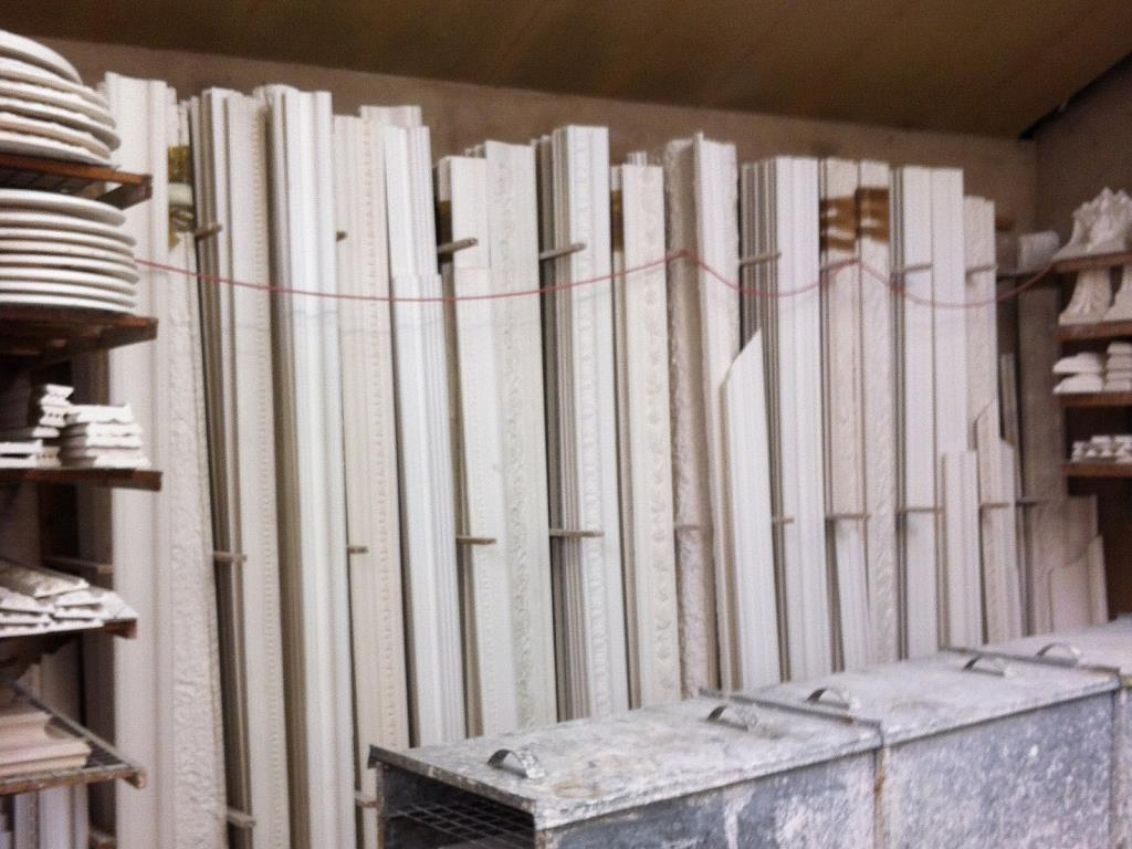 Workshop (Stock) - We stock a wide selection of in-house styled plaster cornices, centrepieces, panel mouldings, corbels, corner blocks and more