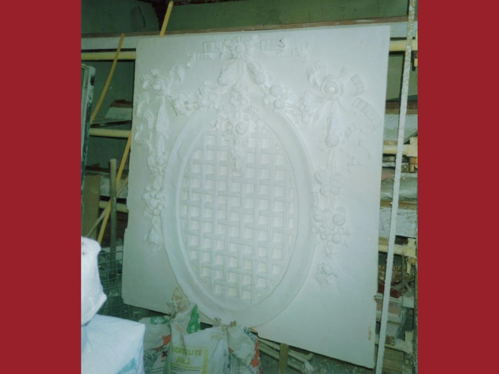 Cinema Restoration (1 of 3) - Very large ornate plaster crest feature reproduced from the original, which suffering from damp