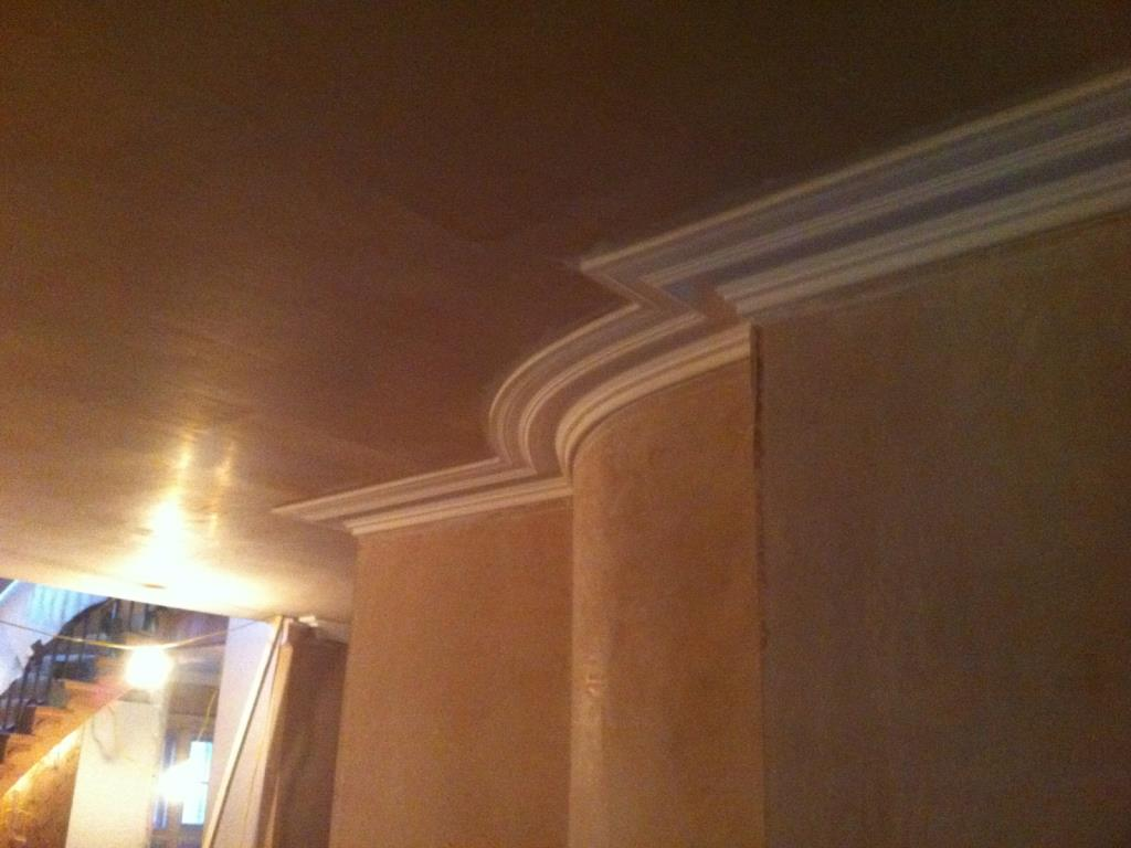 Plaster cornice curved to follow the contour of a wall in a property outside Lancaster