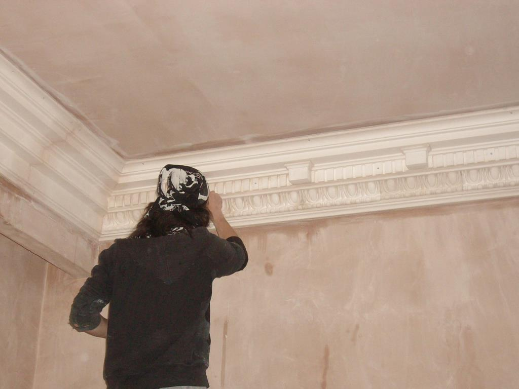 Bespoke Plaster Cornices (4 of 5) - In-filling the joints with casting plaster to produce the finished look