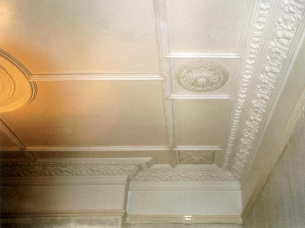 Enrichment of an existing Victorian cornice and addition of plaster panel mouldings to enhance ceiling of a property in Dophinholme, near Lancaster