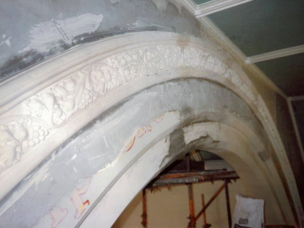 Restoration of decorative floral plaster mouldings to a church in Blackpool with a mould reproduction from the original