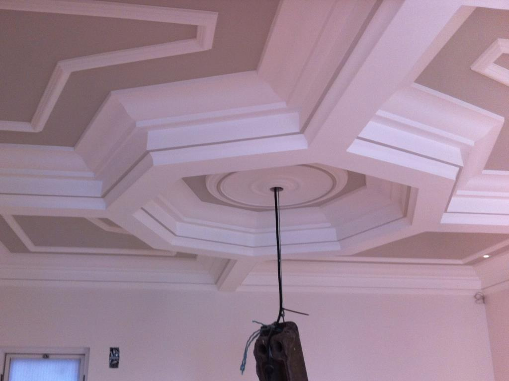 Art Deco plaster cornice and panel mouldings to a property in the Preston area